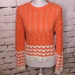 Abound Pointelle Knit Sweater Coral Salmon Small
